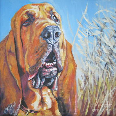Bloodhound In Wheat Print by Lee Ann Shepard