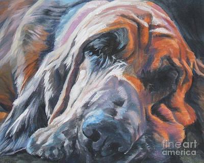 Bloodhound Sleeping Print by Lee Ann Shepard