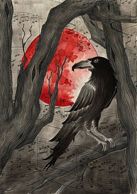 Bloodmoon The Raven Print by Jody Scheers