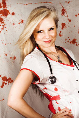 Bloodstained Sadistic Nurse Print by Jorgo Photography - Wall Art Gallery