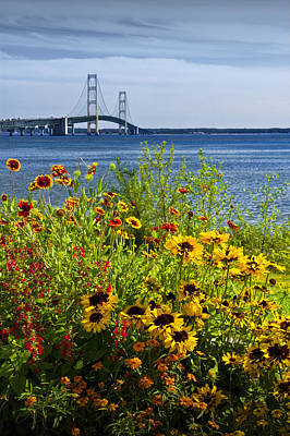 Blooming Flowers By The Bridge At The Straits Of Mackinac Print by Randall Nyhof