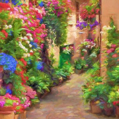 Blooming Street Impression Print by Impressionist Art