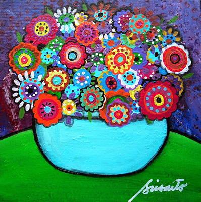 Artist Painting - Blooms 4 by Pristine Cartera Turkus