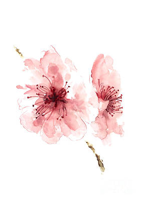 Cherry Blossoms Painting - Blossom Wall Art, Buy Art Online, Cherry Blossom Watercolor Art Print by Joanna Szmerdt