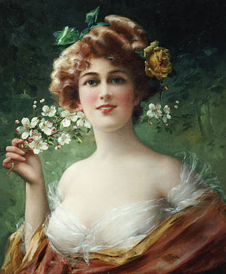 Flowers In Her Hair Painting - Blossoming Beauty by Emile Vernon