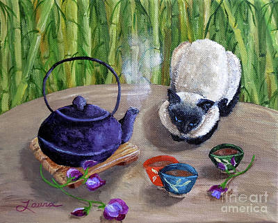 Teapot Painting - Blossoms And Bamboo by Laura Iverson