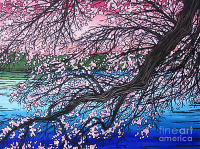 Sakura Painting - Blossoms On The Water by Tracy Levesque