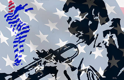 Usa Flag Mixed Media - Blow Your Horn by Robert Margetts