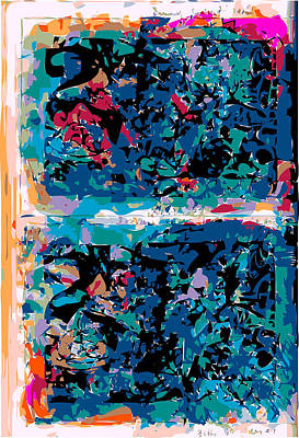 Blue Abstraction Print by F Burton