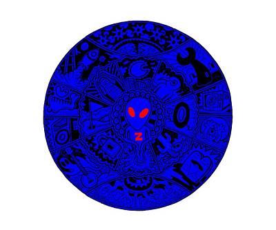 Extraterrestrial Drawing - Blue Alien Mandala by Larry Carey