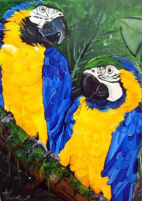 Blue And Gold Macaw Painting - Blue And Gold Macaws by Una  Miller