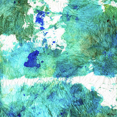 Blue And Green Abstract - Imagine - Sharon Cummings Print by Sharon Cummings