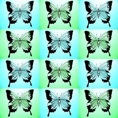 Abstract Image Of A Butterfly Drawing - Blue And Green by Cathy Jacobs