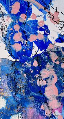 Encaustic Painting - Blue And Pink Abstract by Louise Adams