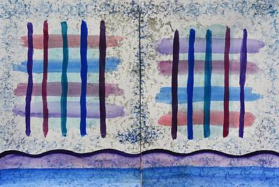 Intersection Painting - Blue And Purple Crisscross Dyptych by Linda Brody