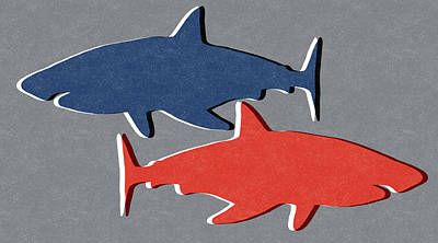 Blue And Red Sharks Print by Linda Woods