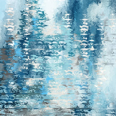 Winter Scenes Painting - Blue And White Abstract by Lourry Legarde