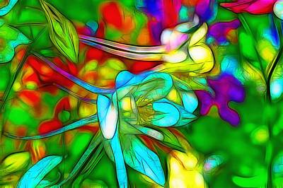 Impressionism Digital Art - Blue And White Columbines by Jean-Marc Lacombe