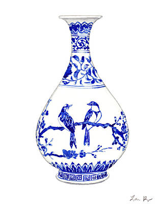 Box Wine Painting - Blue And White Ginger Jar Chinoiserie 7 by Laura Row