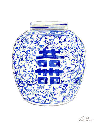 Box Wine Painting - Blue And White Ginger Jar Chinoiserie 8 by Laura Row