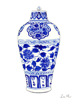 Peonies Painting - Blue And White Ginger Jar Chinoiserie Jar 1 by Laura Row