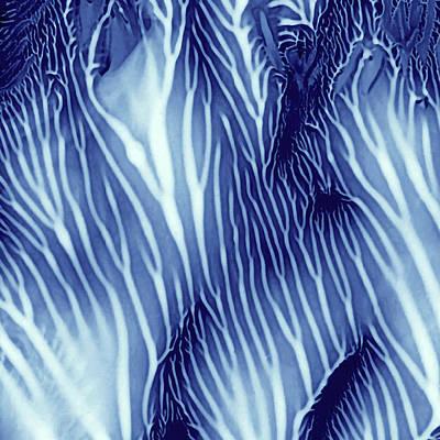 Blue And White Serenity Blue Sea Monoprint Print by Amy Vangsgard