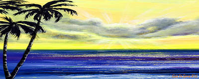 Blue And Yellow Tropical Sunset Print by Gina De Gorna