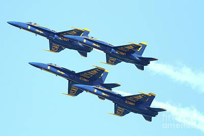 Airplane Photograph - Blue Angels 4 Team Formation by Wingsdomain Art and Photography