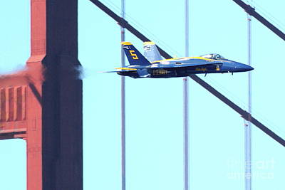 Blue Angels And Golden Gate Bridge . 7d2602 Print by Wingsdomain Art and Photography