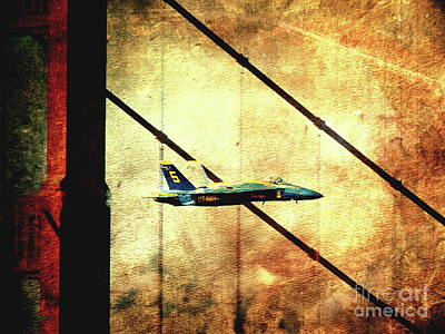 Blue Angels Golden Gate And Moon - Photoart Print by Wingsdomain Art and Photography