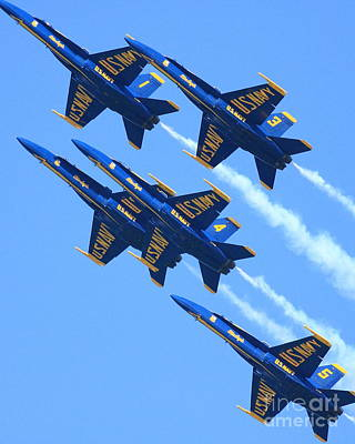 Blue Angels Leaving A White Trail Print by Wingsdomain Art and Photography