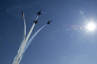 U.s. Navy Painting - Blue Angels Performs A Diamond Formation by Celestial Images