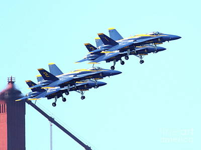 Blue Angels Traffic Jam Atop The Golden Gate Bridge Print by Wingsdomain Art and Photography