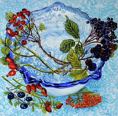Blue Antique Bowl With Berries Print by Joan Thewsey