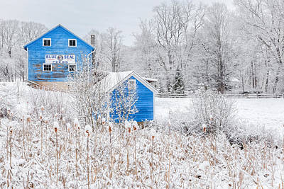 Classic New England Barns Photograph - Blue Barns by Bill Wakeley