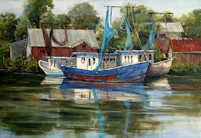 Shrimp Boat Painting - Blue Bayou by Judy Crowe