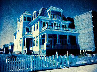 Blue Beach House Print by E Gilvary