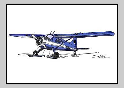 Beaver Drawing - Blue Beaver On Skis by Arlon Rosenoff