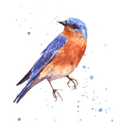 Blue Bird Blue Bird Painting Print by Alison Fennell