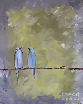 Lovebird Mixed Media - Blue Birds Love Birds by Donna Marshall