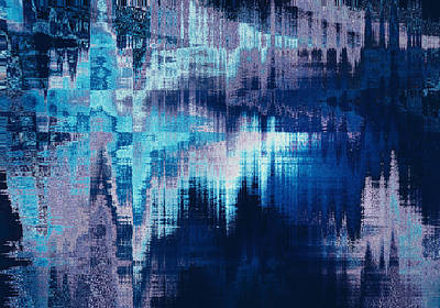 blue blurred abstract background texture with horizontal stripes. glitches, distortion on the screen broadcast digital TV satellite channels Print by Oksana Ariksina