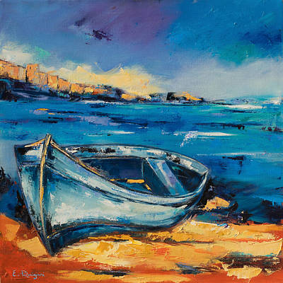 Lonely Painting - Blue Boat On The Mediterranean Beach by Elise Palmigiani