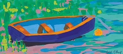 Row Boat Painting - Blue Boat by Sarah Gillard
