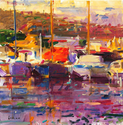Boats In Water Painting - Blue Boat  St Tropez  by Peter Graham
