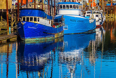 Seagull Photograph - Blue Boats Reflection by Garry Gay
