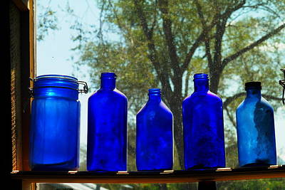 Relic Glass Photograph - Blue Bottles by Jeff Swan