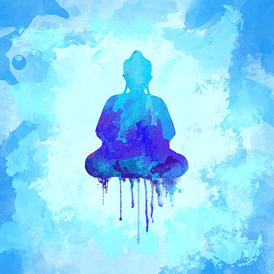 Blue Buddha Watercolor Painting Print by Thubakabra