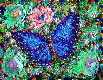 Bead Embroidery Painting - Blue Butterfly Bead Sequin Embroidery by Sofia Goldberg