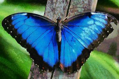 Woods Digital Art - Blue Butterfly  - Monet Style -  - Da by Leonardo Digenio