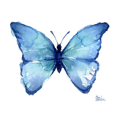 Insect Painting - Blue Butterfly Watercolor by Olga Shvartsur